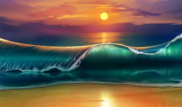 sunset art beach wallpaper