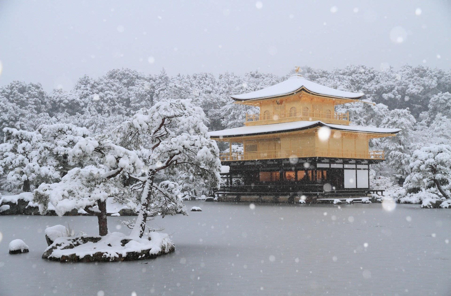 Temple In Snow Wallpaper