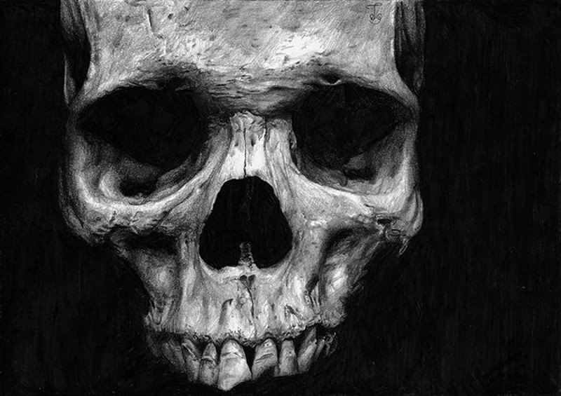 Terrible Horror Skull Drawing