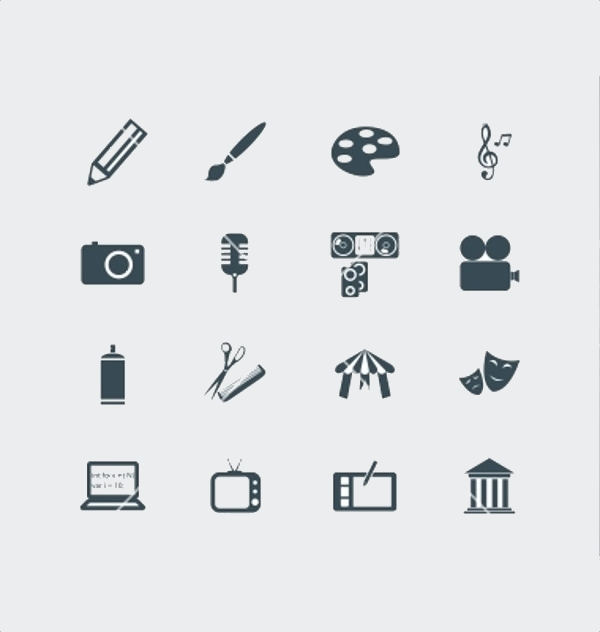 Thin Outlined Art Icons