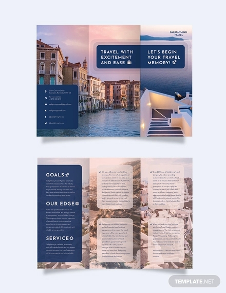 travel company tri fold brochure template