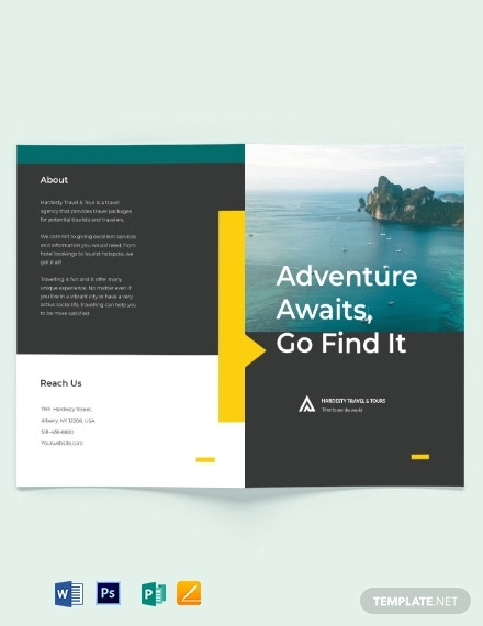 travel tour bi fold brochure template