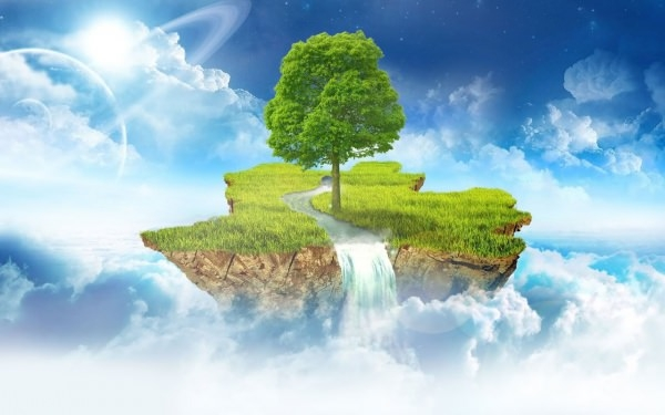 tree in the sky art wallpaper