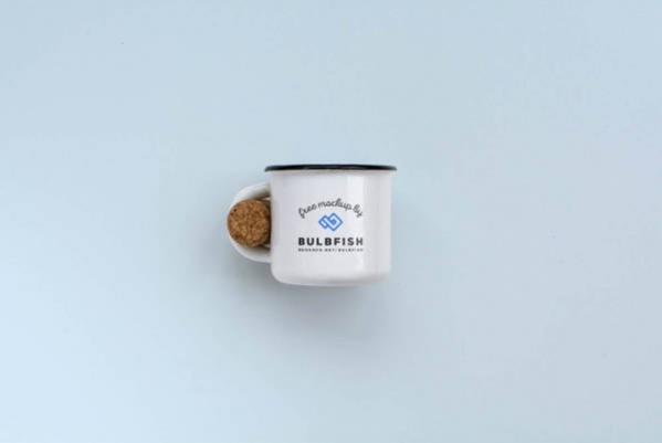 Two Enamel Coffee Cup Mockup