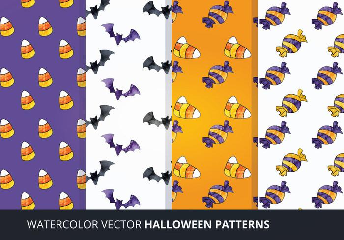 Watercolor Vector Halloween Patterns