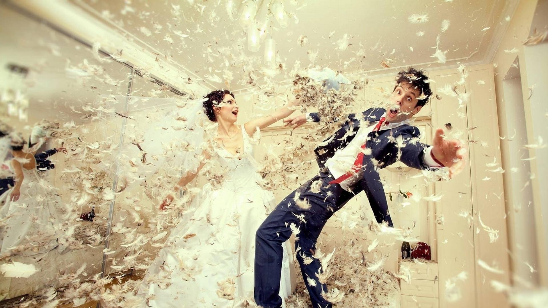 Wedding Couple Pillow Fight