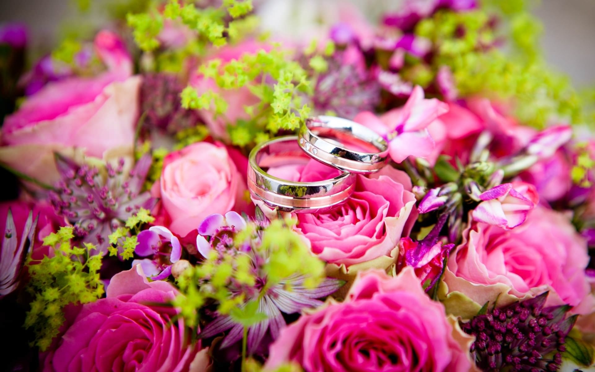 Wedding Rings on a Flowers Bouquet