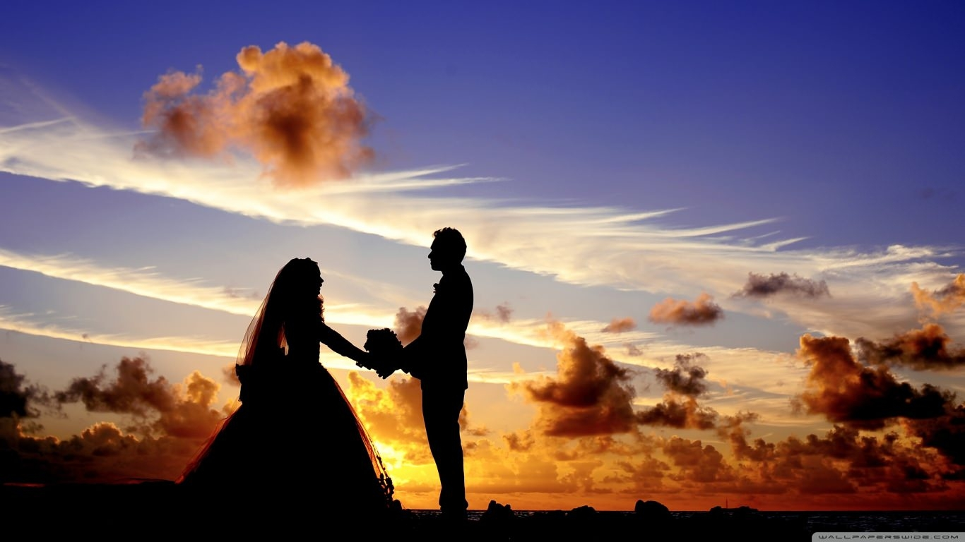 Wedding in Tropical Sunrise Wallpaper
