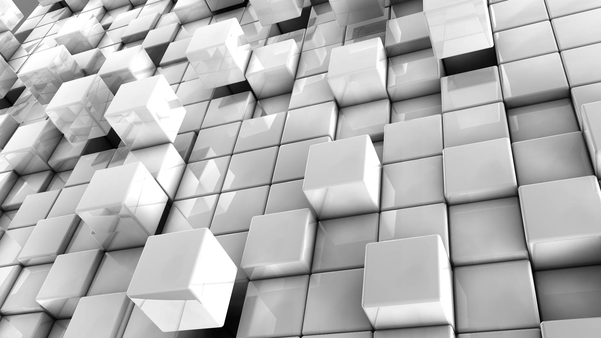 White Abstract Cubes Wallpaper