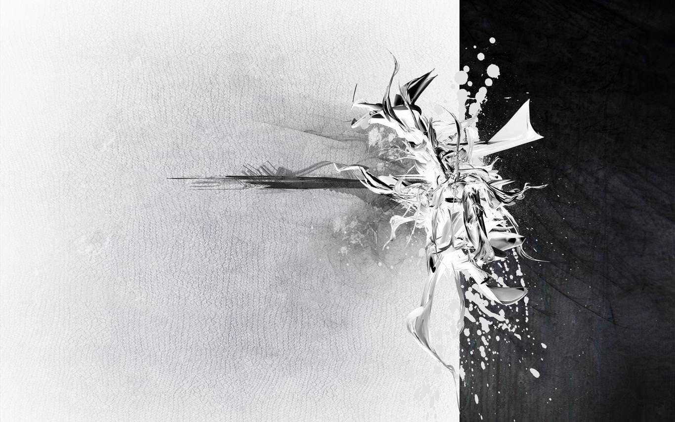 White & Black Abstract Wallpaper