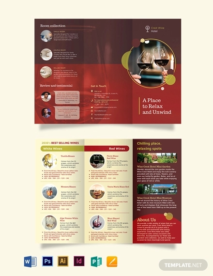 wine country hotel trii fold brochure template