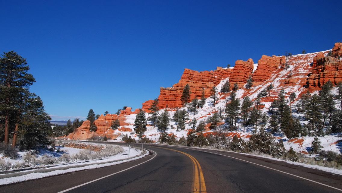 Winter Snowy Mountain Road HD Wallpaper