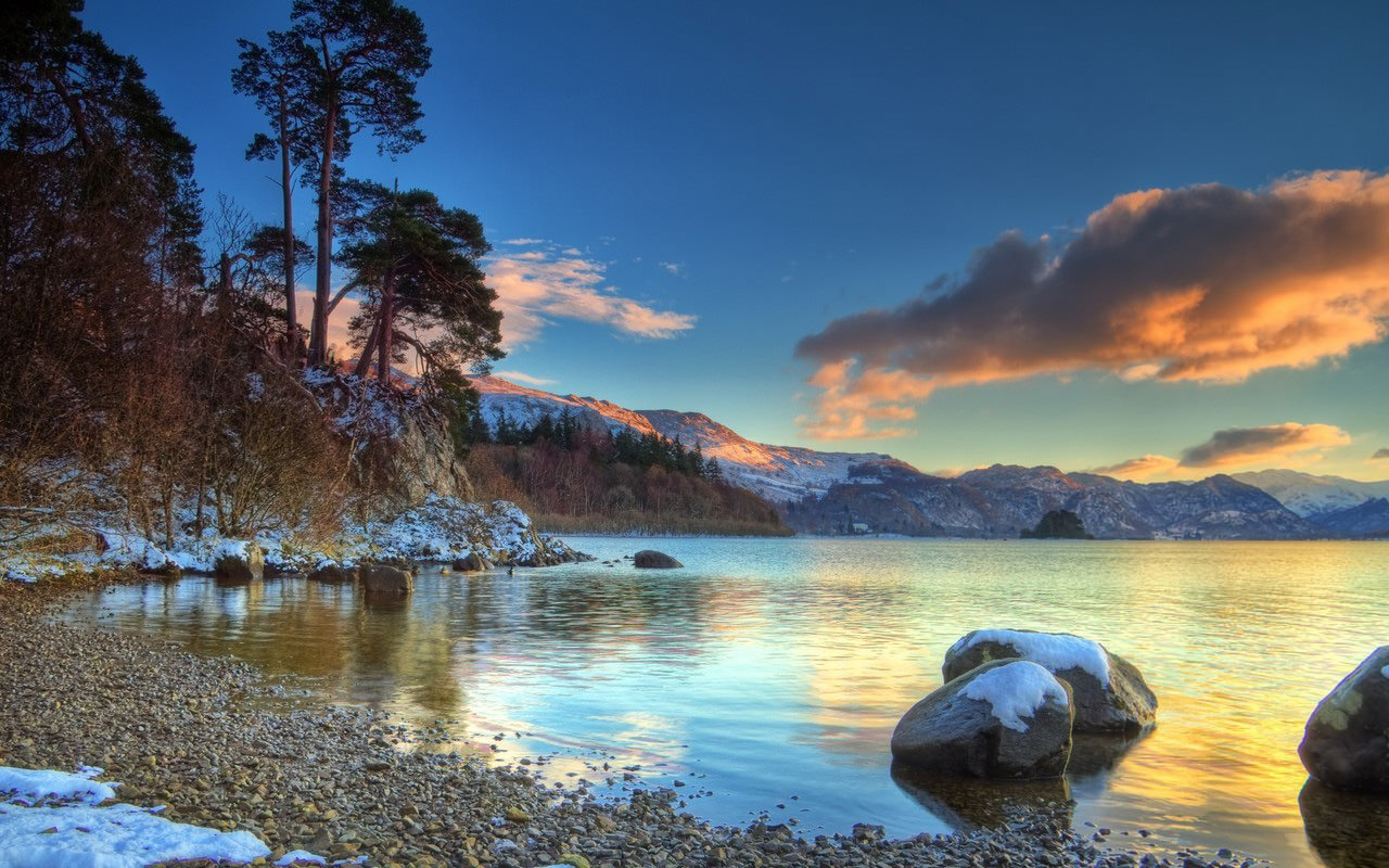 Winter Sunset at Lake Wallpaper