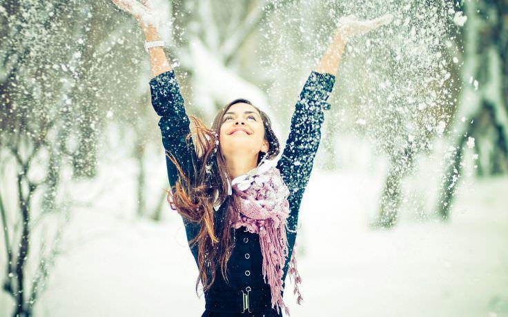 Winter Trees Snowflakes Wallpaper