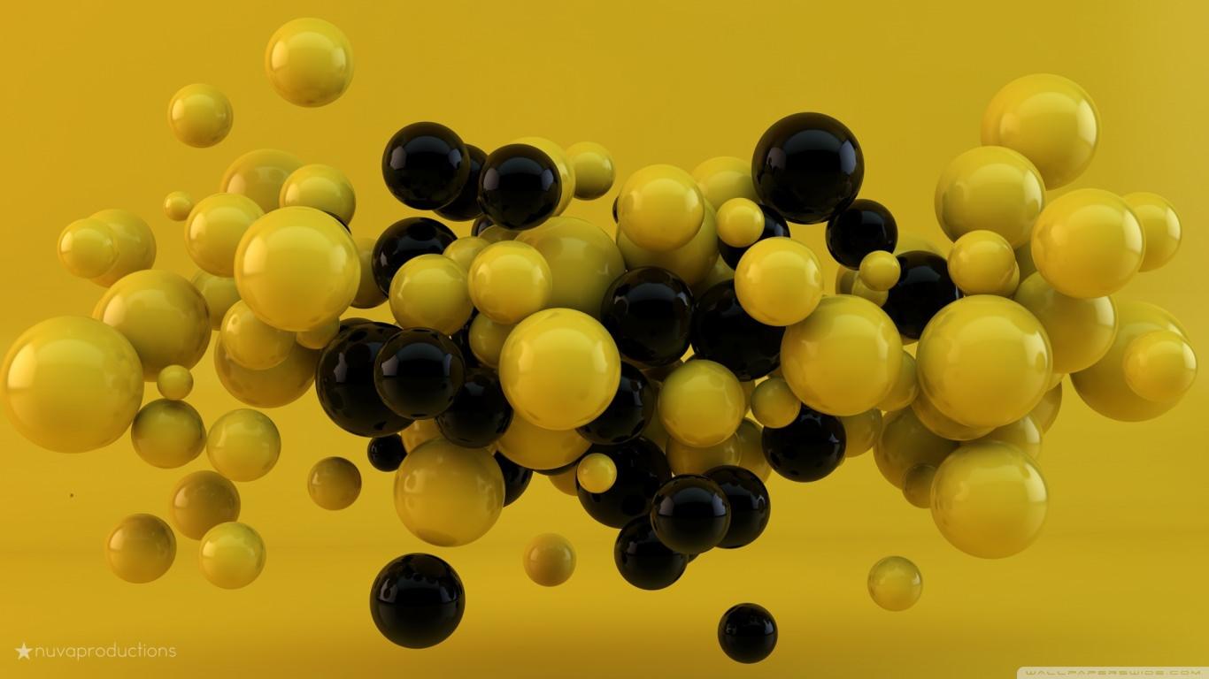 Yellow & Black 3D Balls Background