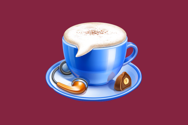 iChat Coffee Cup Logo Design