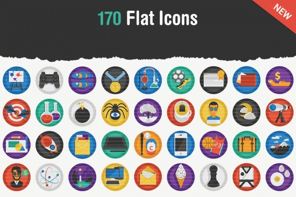 170 Flat Trendy Icons For You