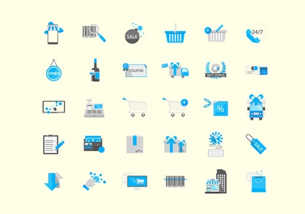 30 Shopping & Commerce Trendy Icons
