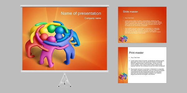 3D Teamwork PowerPoint Presentation Template