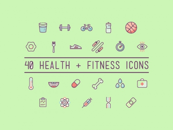 40 Health and Fitness Icons