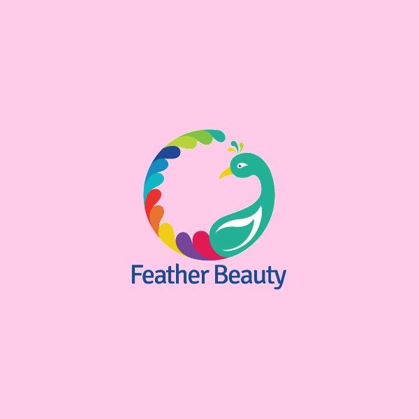 Beautiful  feather peacock logo