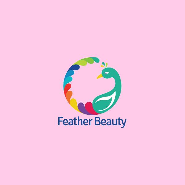 beautiful feather peacock logo
