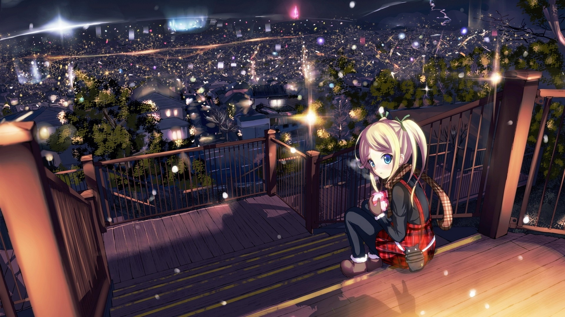 Blue Anime Landscape Wallpaper