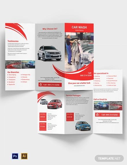 car wash a3 tri fold brochure template