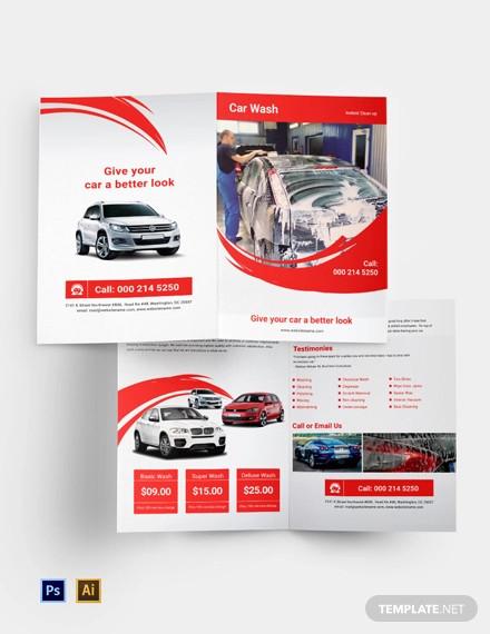 car wash a4 bi fold brochure template