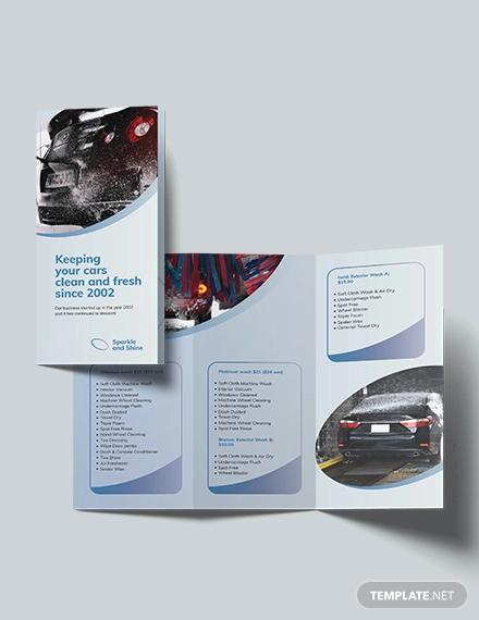 car wash tri fold brochure template