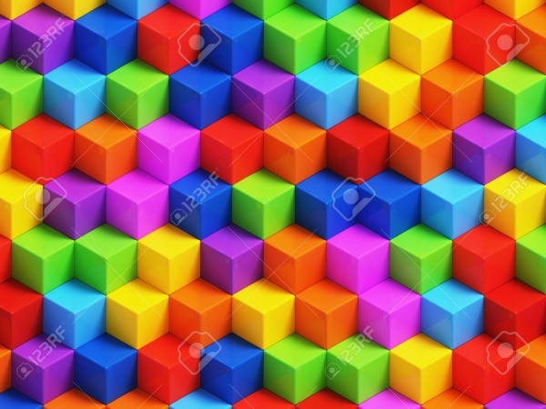 Colorful 3D geometric boxes background