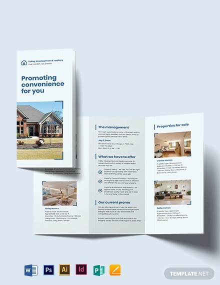 commercial leasing realtor tri fold brochure template
