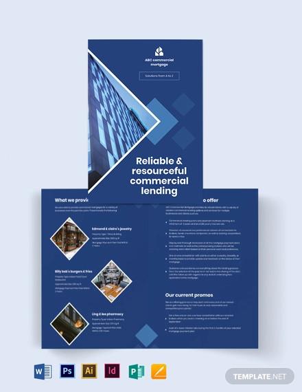 commercial mortgage broker bi fold brochure template