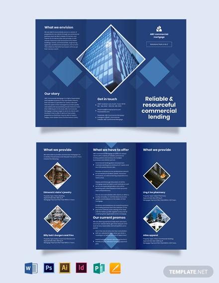 commercial mortgage broker tri fold brochure template