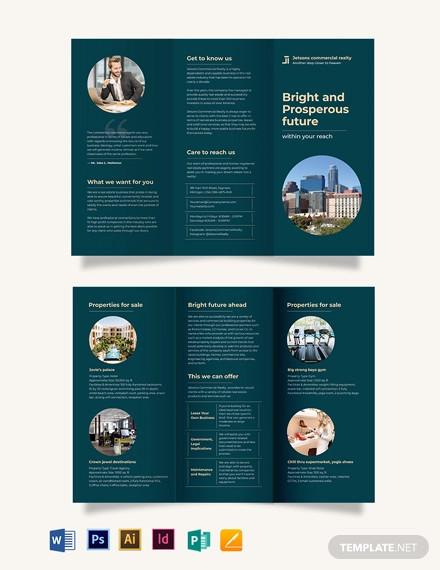commercial sale tri fold brochure template