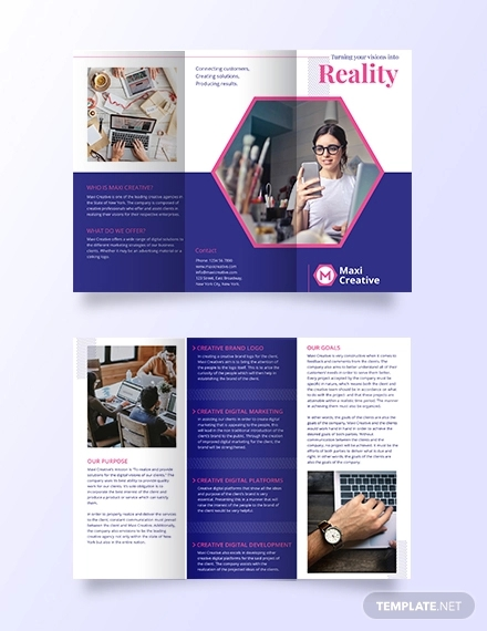 creative agency tri fold brochure