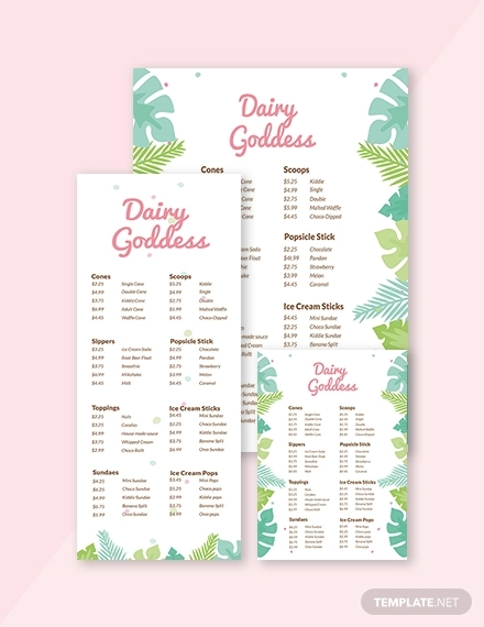 creative ice cream menu template