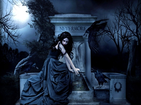 Dark Gothic Grave Women Wallpaper