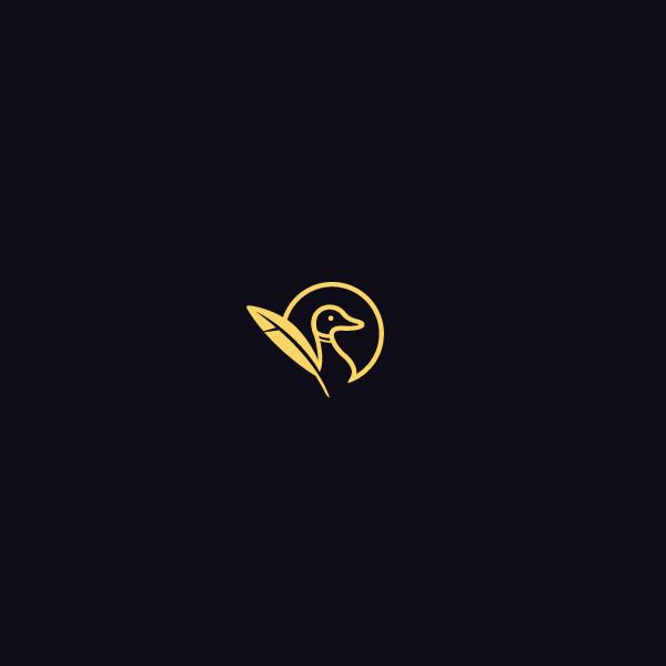 duck feather circle design logo