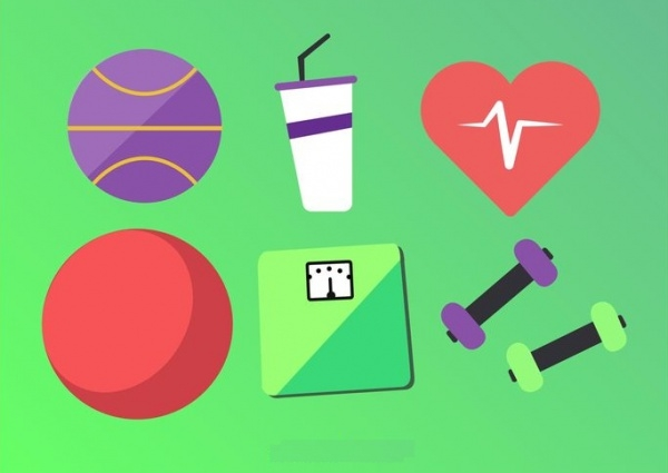 Flat Fitness Exercising Icons