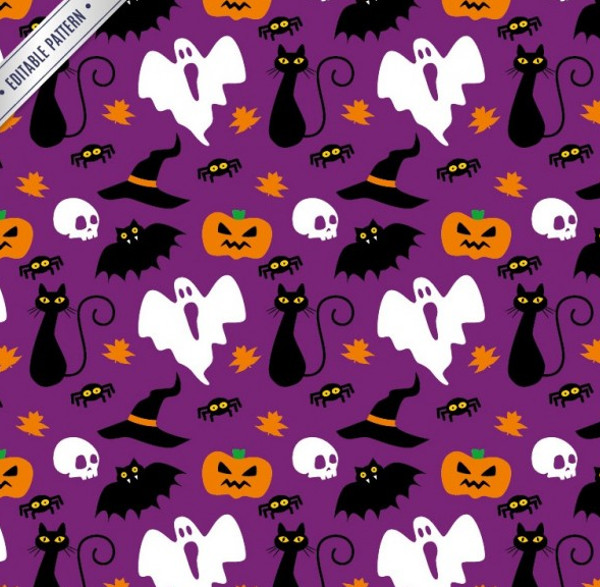 Funny Halloween Items Editable Pattern