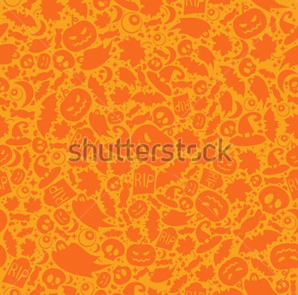 Halloween Orange Seamless Pattern