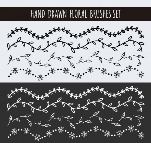 Hand Drawn Floral Brushes Set Free Vector