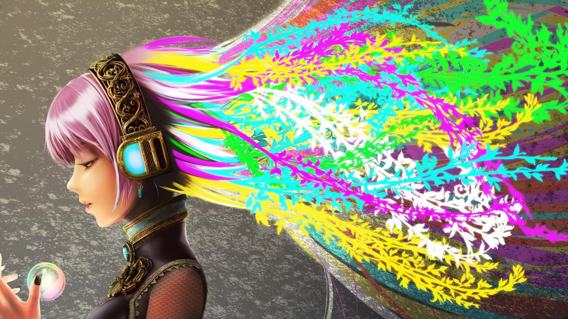 Headphones Vocaloid Multicolor Wallpaper