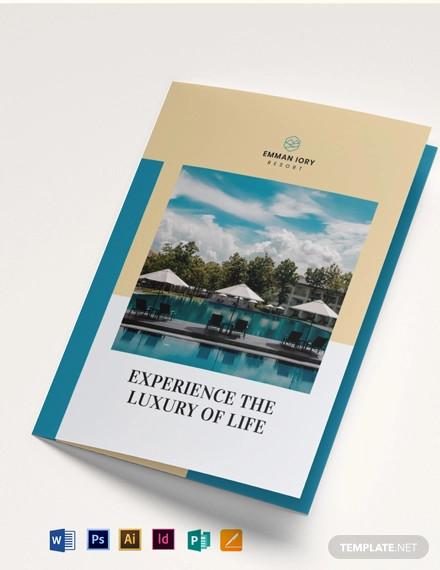 hill resort bi fold brochure template