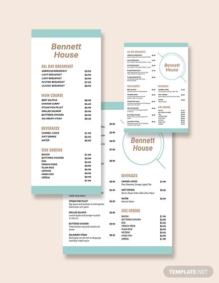 hotel menu template