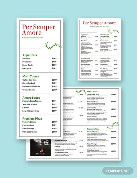 italian food menu template