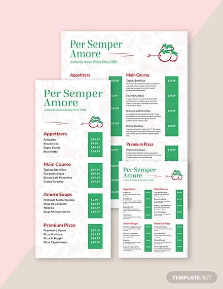 italian restaurant menu template2