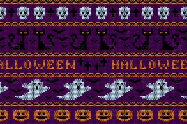 knitted halloween seamless pattern