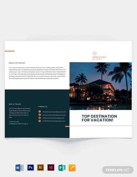 luxury resort bi fold brochure template
